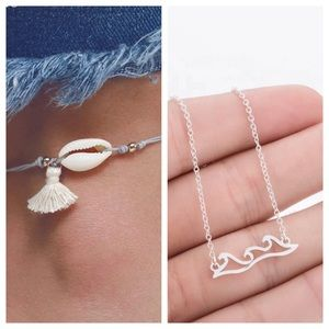 Wave Necklace & Shell Anklet